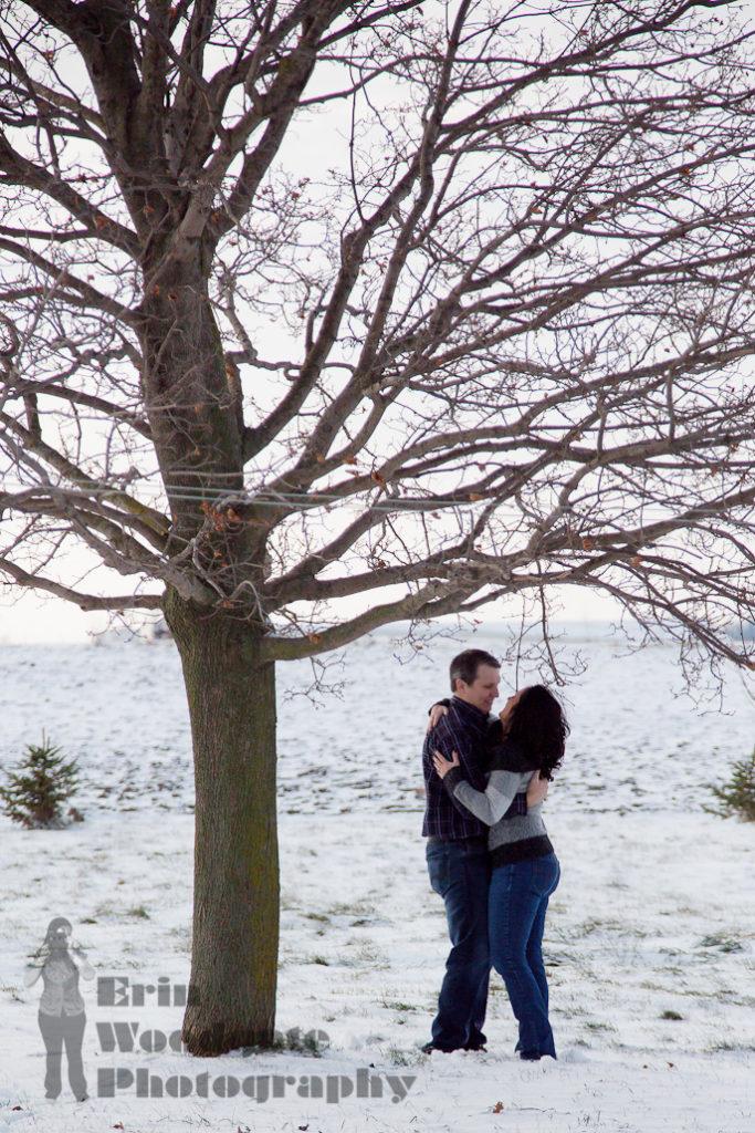 Winter engagement photography arva ontario