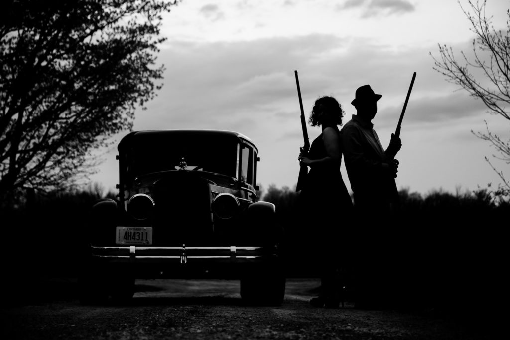 Vintage car engagement photography Exeter Ontario
